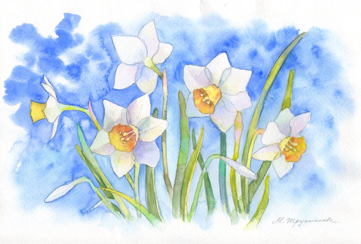 Цветы рисовать гуашью